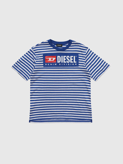 Diesel - TVIKTOR OVER, Blue/White - T-shirts and Tops - Image 1