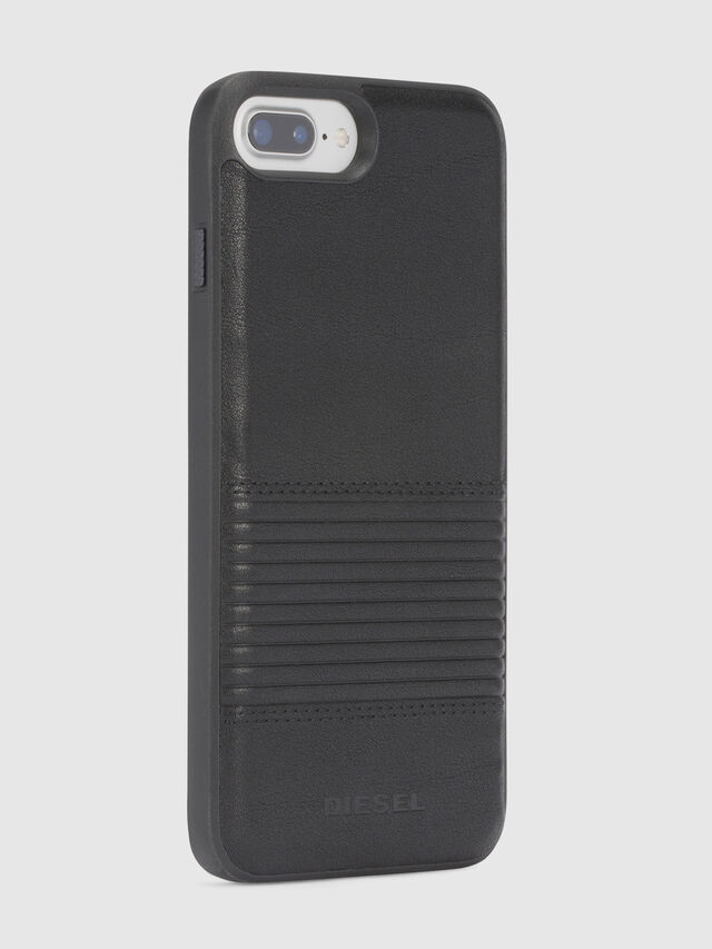 Diesel - BLACK LINED LEATHER IPHONE 8 PLUS/7 PLUS/6s PLUS/6 PLUS CASE, Black - Cases - Image 5