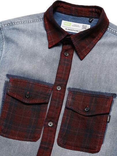Diesel - D-DEEPCHECK-A, Blue/Red - Denim Shirts - Image 3