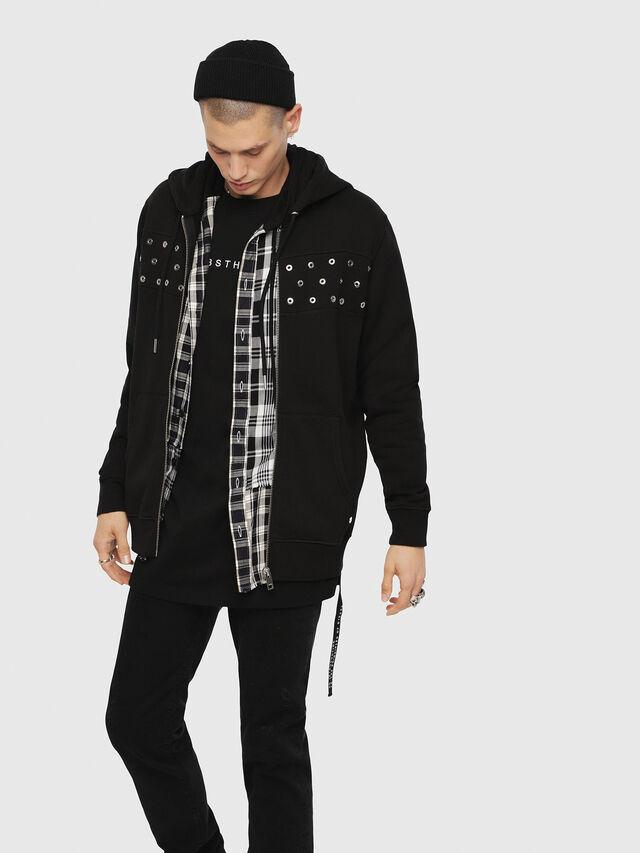 Diesel - S-GIR-HOOD-ZIP-XMAS, Black - Sweaters - Image 1
