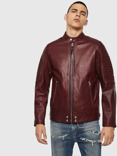 Diesel - L-SHIRO, Bordeaux - Leather jackets - Image 1