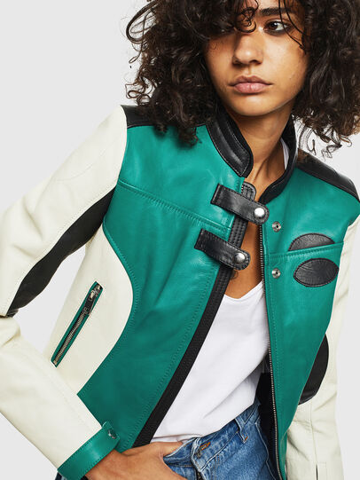 Diesel - L-ALLIE, White/Green - Leather jackets - Image 3