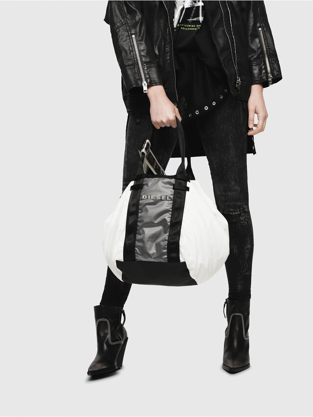 Diesel - D-CAGE SHOPPER, White/Black - Shopping and Shoulder Bags - Image 6