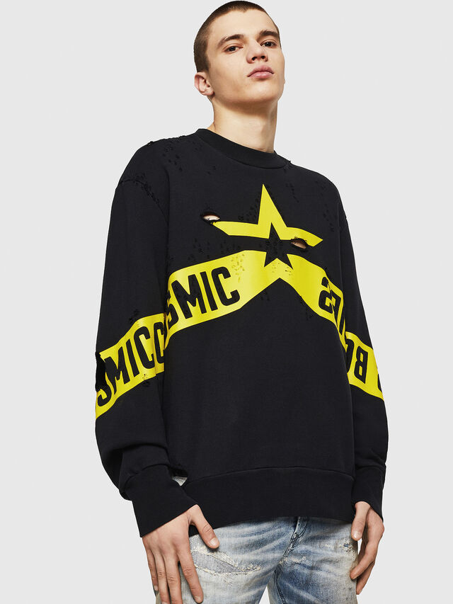 Diesel - S-BAY-HOLES, Black/Yellow - Sweaters - Image 1
