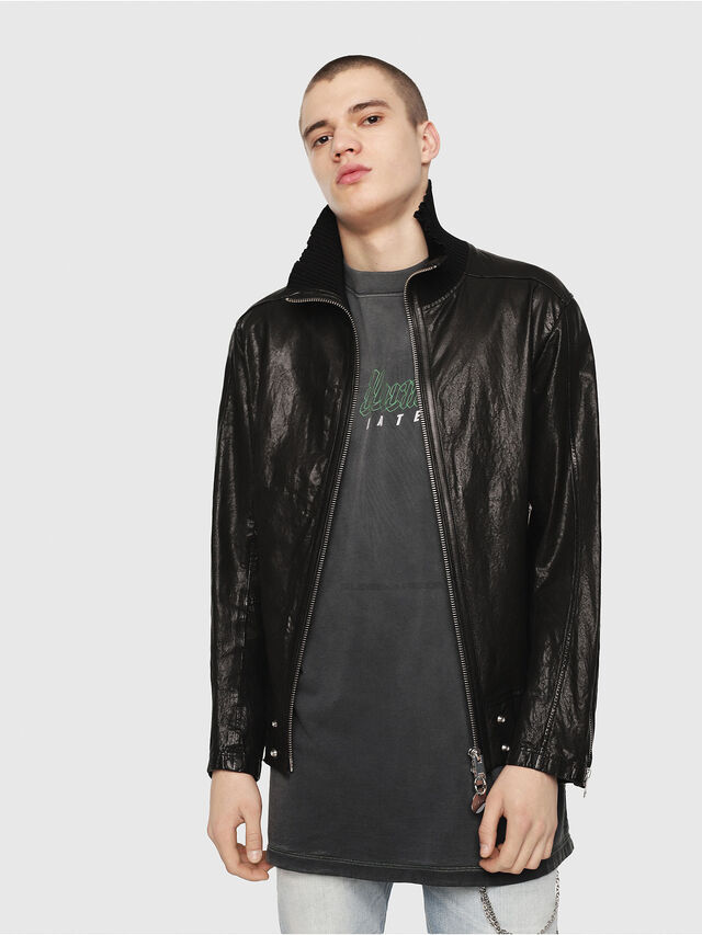 Diesel - L-LYSSEN, Black - Leather jackets - Image 1