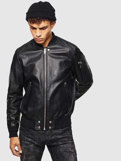 Diesel - L-JOSEPH, Black - Leather jackets - Image 1