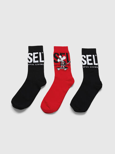 Diesel - CL-RAY-THREEPACK, Black/Red - Socks - Image 1