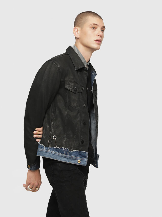 Diesel - D-CADY, Black/Blue - Denim Jackets - Image 3