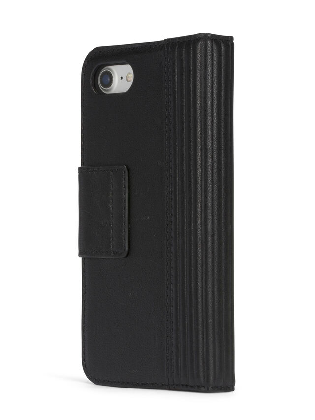 Diesel - BLACK LINED LEATHER IPHONE 8 PLUS/7 PLUS FOLIO, Black - Flip covers - Image 6