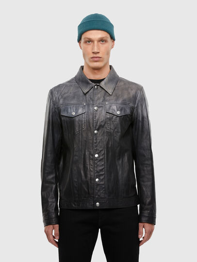 Diesel - L-NHILL-TRE, Black - Leather jackets - Image 1