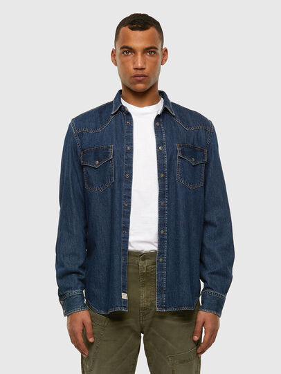 Diesel - D-EAST-P, Dark Blue - Denim Shirts - Image 4