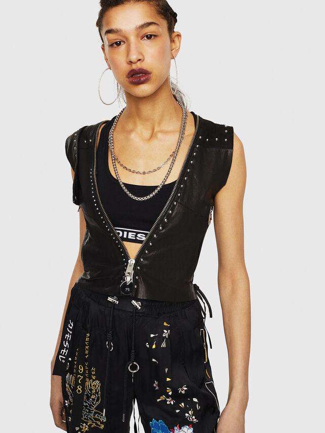 Diesel - L-SKYLA, Black Leather - Leather jackets - Image 1