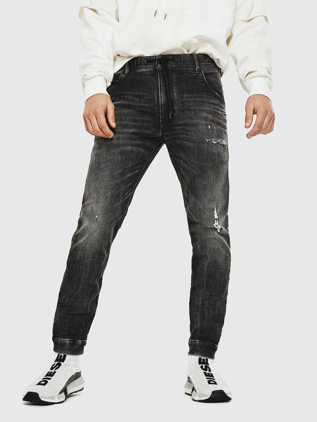 Diesel - Dvl-Krooley JoggJeans 0077S, Black/Dark grey - Jeans - Image 1