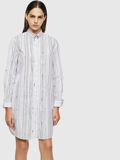 Diesel - D-RAILY-LONG-A, White/Black - Dresses - Image 1