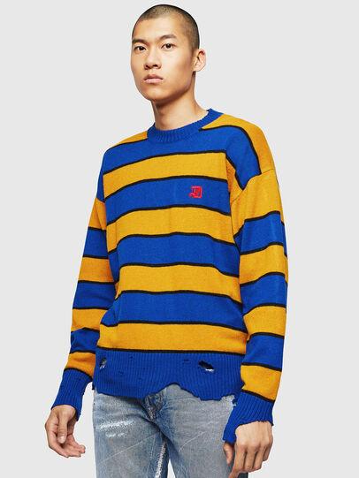 Diesel - K-LOVERY, Blue/Yellow - Knitwear - Image 1