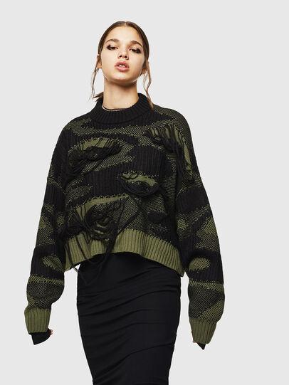 Diesel - M-KAM, Black/Green - Knitwear - Image 1
