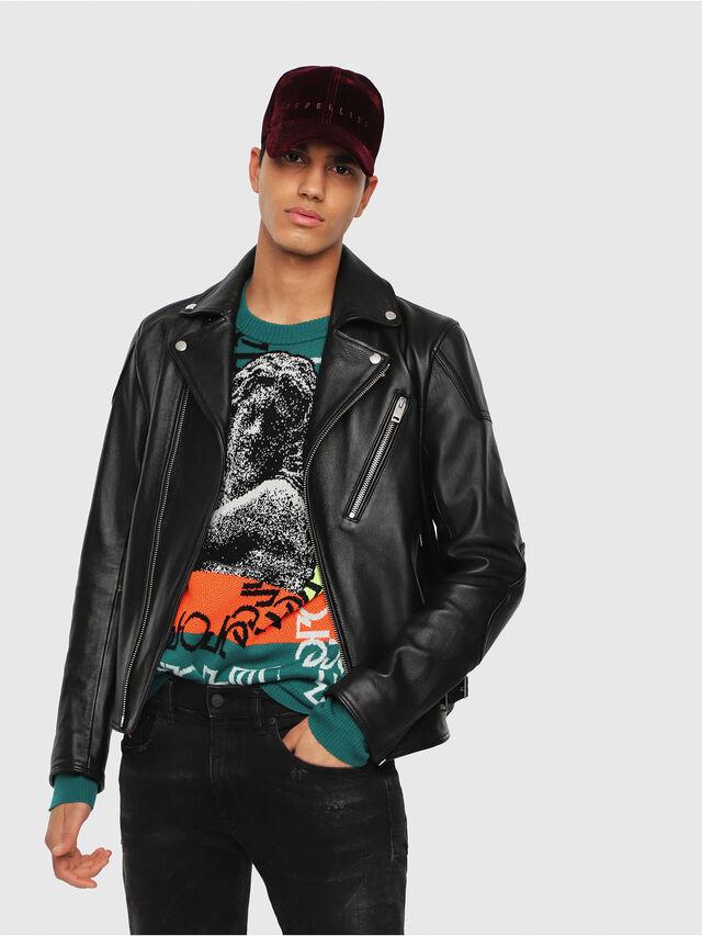 Diesel - L-KRAMPIS, Black Leather - Leather jackets - Image 1