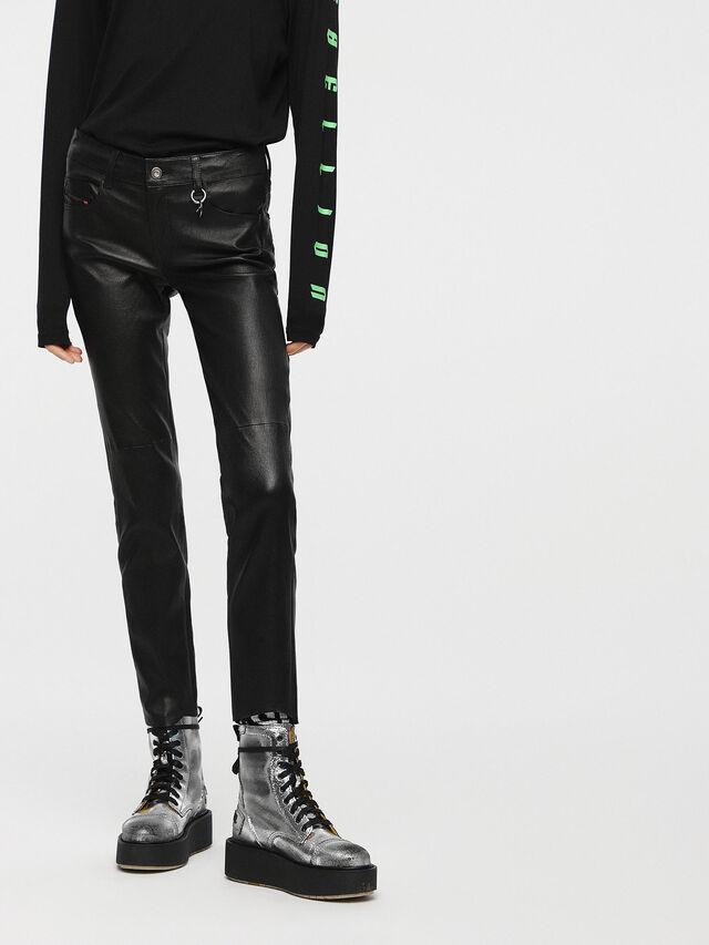 Diesel - L-TIME-A, Black Leather - Pants - Image 1