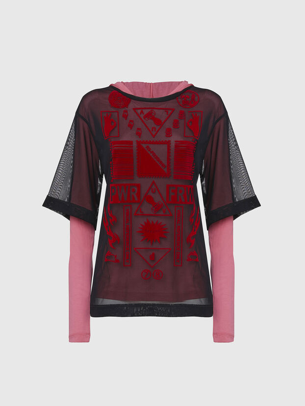 T-LAYER, Black/Pink - Tops