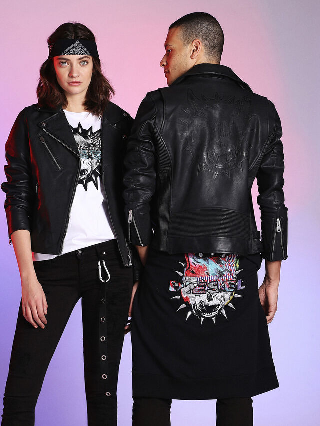Diesel - LU-L-KRAMPS, Black - Leather jackets - Image 5