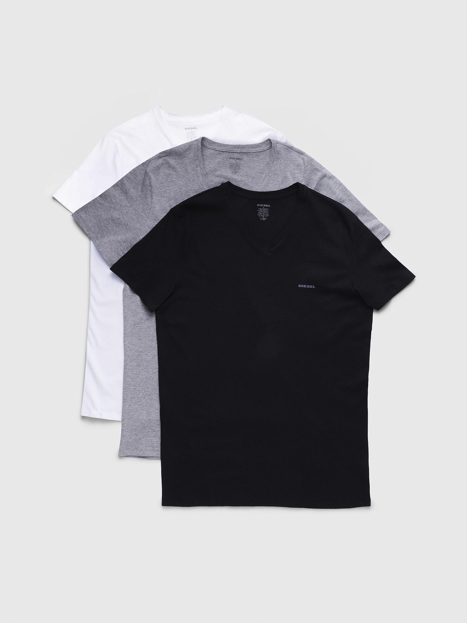 White Grey Diesel Underwear Men/'s UMTEE Jake 3-Pack V-Neck T-Shirt Black