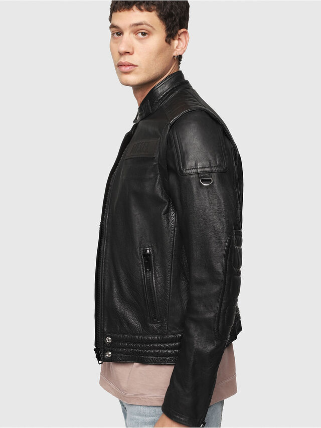 Diesel - L-YUJA, Black Leather - Leather jackets - Image 3
