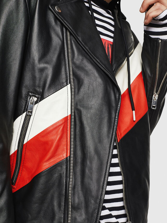 Diesel - L-SOLOVE, Black/Red - Leather jackets - Image 5