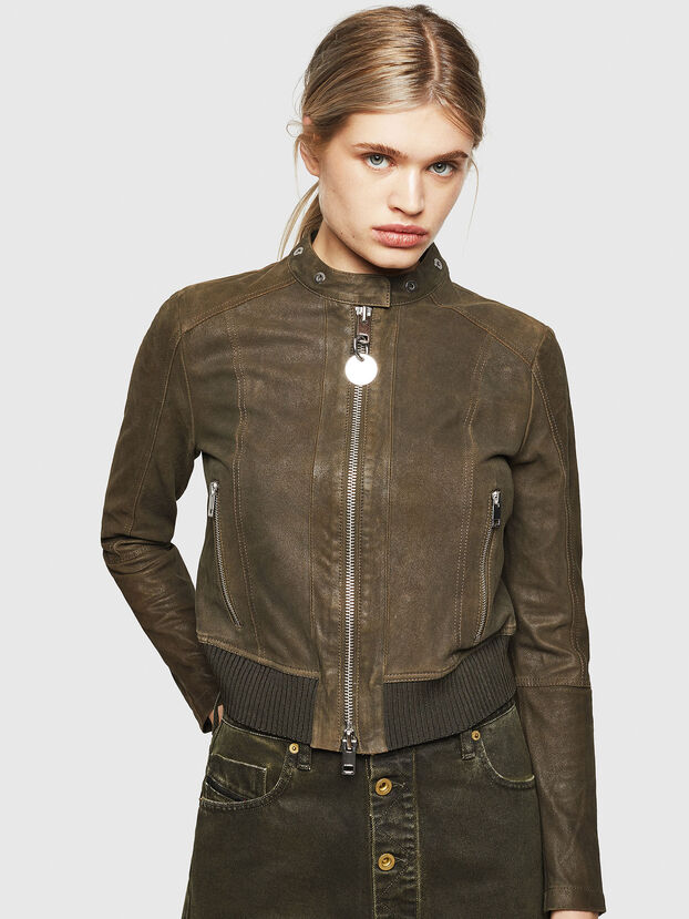L-LYSSA-G, Military Green - Leather jackets
