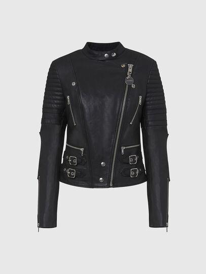 Diesel - L-IGE-NEW, Black - Leather jackets - Image 1