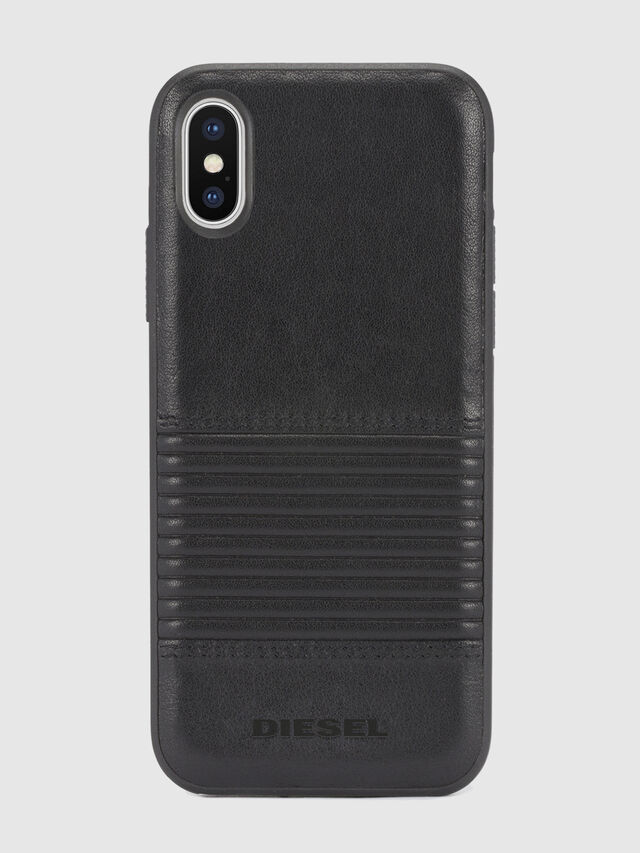 BLACK LINED LEATHER IPHONE X CASE, Black Leather