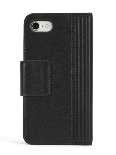 Diesel - BLACK LINED LEATHER IPHONE 8 PLUS/7 PLUS FOLIO, Black - Flip covers - Image 5