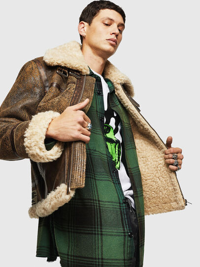 Diesel - L-BALASOVI, Brown - Leather jackets - Image 6