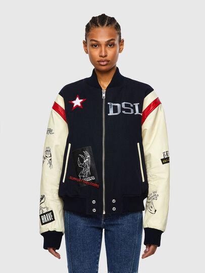 Diesel - L-COHEN, White/Blue - Leather jackets - Image 1