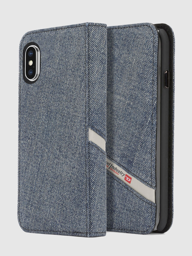 Diesel - DENIM IPHONE X FOLIO, Blue Jeans - Flip covers - Image 1