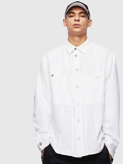Diesel - D-FLOX, White - Denim Shirts - Image 1