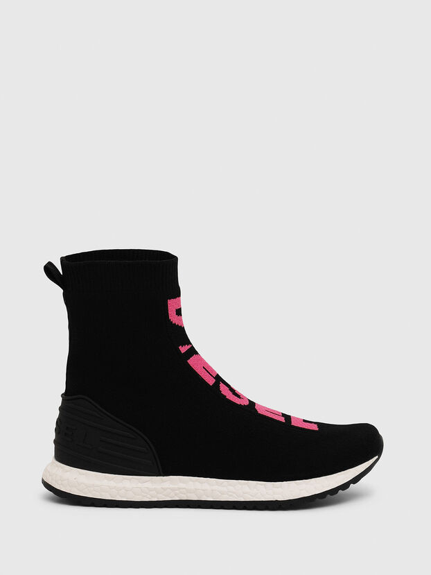 SLIP ON 04 MID SOCK, Black/Pink - Footwear