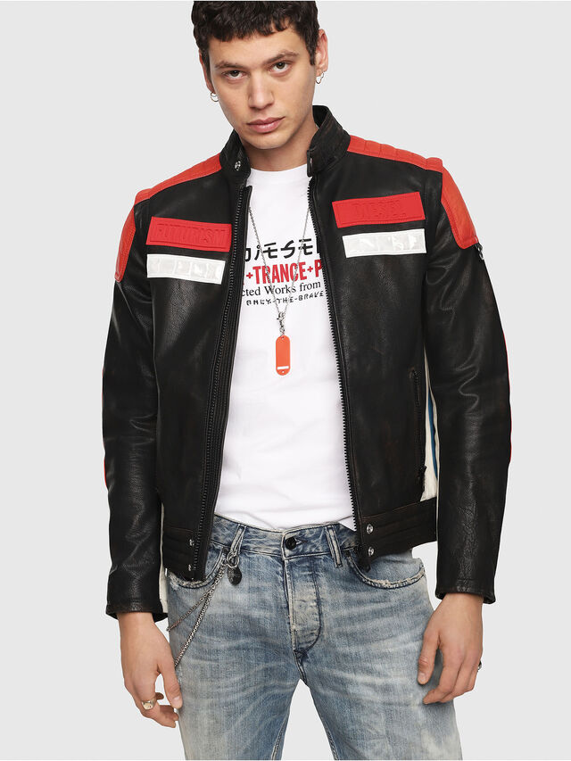 Diesel - L-YUJA, Black/Red - Leather jackets - Image 1