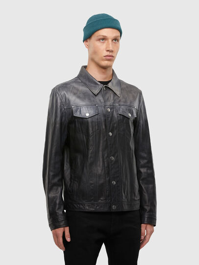 Diesel - L-NHILL-TRE, Black - Leather jackets - Image 3
