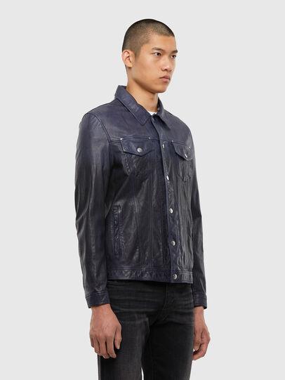Diesel - L-NHILL-TRE, Dark Blue - Leather jackets - Image 4