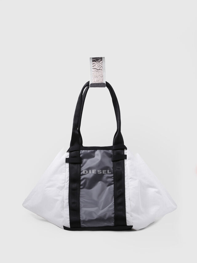 Diesel - D-CAGE SHOPPER, White/Black - Shopping and Shoulder Bags - Image 1