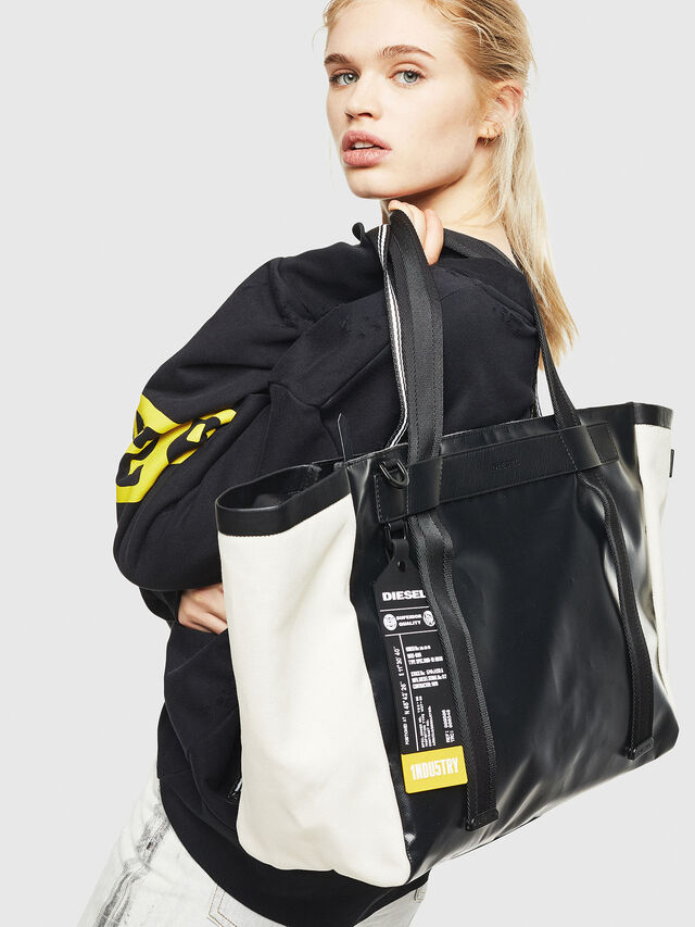 Diesel - F-CAORLY SHOPPER L, Black/White - Shopping and Shoulder Bags - Image 6