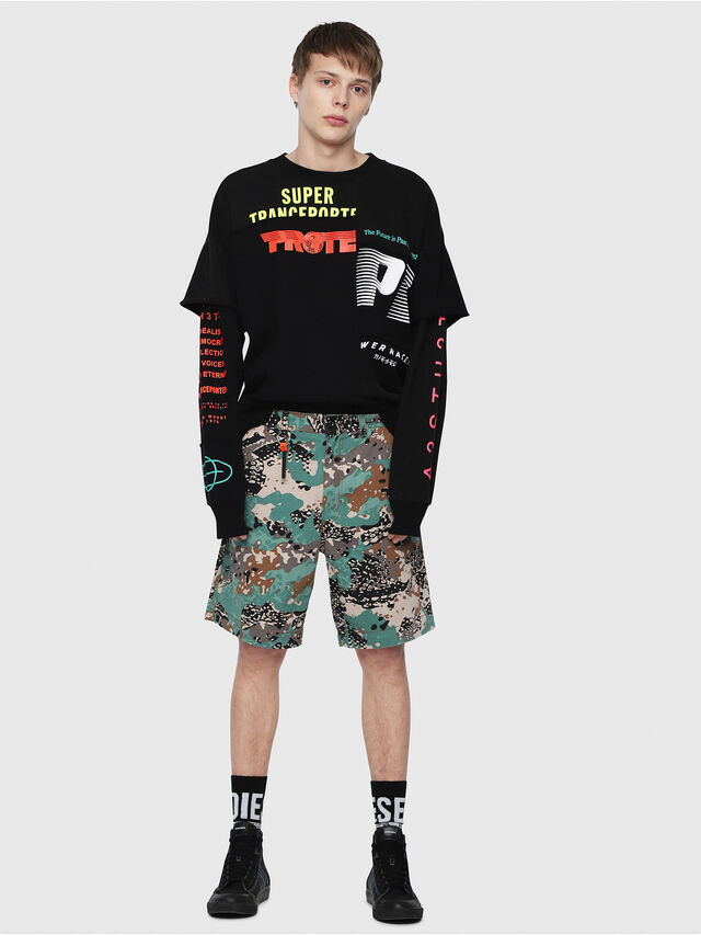 Diesel - P-FRANK-SHO-CAMOU, Green Camouflage - Shorts - Image 5