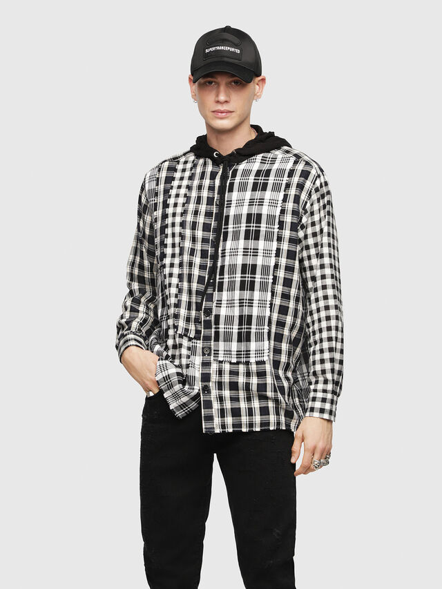 Diesel - S-MICHI, Black/White - Shirts - Image 1