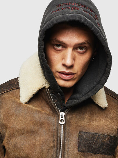 Diesel - L-OIUKIRO, Brown - Leather jackets - Image 6